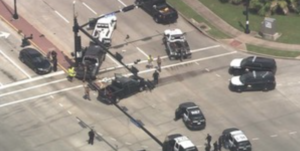 A tow truck crashed in Sugar Land during a police chase.